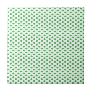 Groene Stippen op Wit Tegeltje
