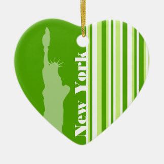 Groene Strepen; Gestreept; New York Keramisch Hart Ornament