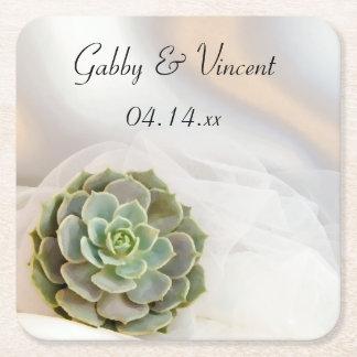 Groene Succulent op Wit Huwelijk Vierkante Onderzetter