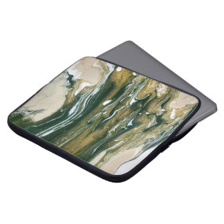 Groene & Tan Abstract Laptop Sleeve