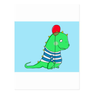 Groene verjaardag Dinosaure met rode ballon Briefkaart
