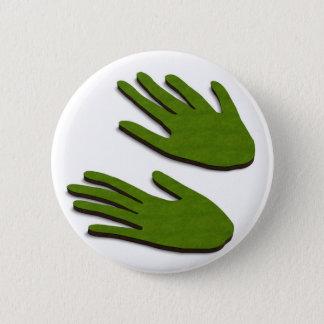 Groene vingers ronde button 5,7 cm