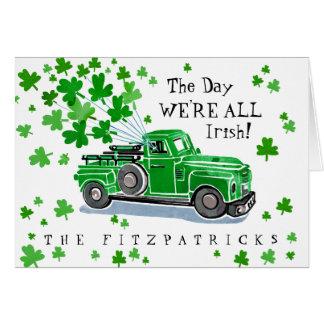 Groene Vintage St. Patrick van de Vrachtwagen Dag Kaart