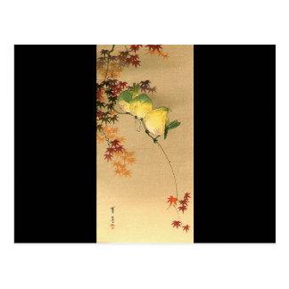 Groene Vogels op de Boom van de Esdoorn, Japanse Briefkaart