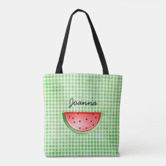 Groene Watermeloen die uit Gepersonaliseerde Zak Draagtas