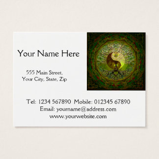 Groene Yin Yang Mandala met Boom van het Leven Visitekaartjes