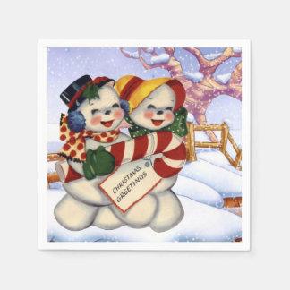 Groeten 3 van Kerstmis Papieren Servet