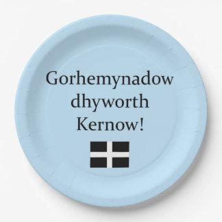 Groeten van Cornwall in de Taal Van Cornwall Papieren Bordje