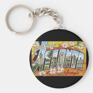 Groeten van de Reis van Atlanta Georgia_Vintage Basic Ronde Button Sleutelhanger