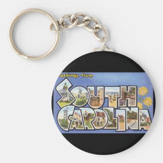 Groeten van de Reis van Carolina_Vintage van het Basic Ronde Button Sleutelhanger