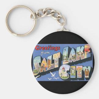 Groeten van de Reis van Salt Lake City_Vintage Basic Ronde Button Sleutelhanger