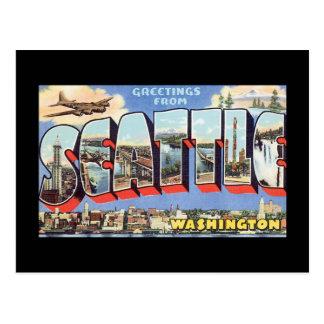 Groeten van de Reis van Seattle Washington_Vintage Briefkaart