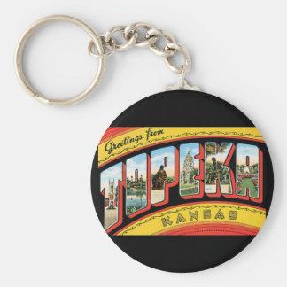 Groeten van de Reis van Topeka Kansas_Vintage Basic Ronde Button Sleutelhanger