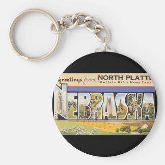Groeten van het Noorden Platte Nebraska_Vintage Basic Ronde Button Sleutelhanger