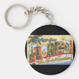 Groeten van het Poster van de Reis Florida_Vintage Basic Ronde Button Sleutelhanger