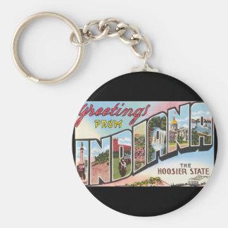 Groeten van het Poster van de Reis Indiana_Vintage Basic Ronde Button Sleutelhanger