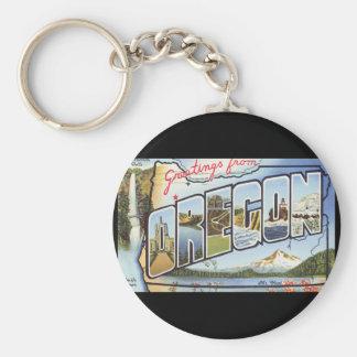 Groeten van het Poster van de Reis Oregon_Vintage Basic Ronde Button Sleutelhanger