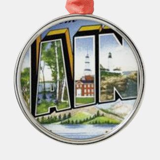 Groeten van Maine Zilverkleurig Rond Ornament