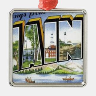 Groeten van Maine Zilverkleurig Vierkant Ornament