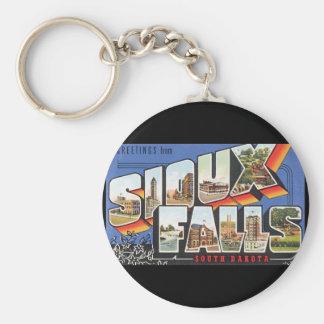 Groeten van Sioux Poster van de Reis Falls_Vintage Basic Ronde Button Sleutelhanger