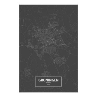 Groningen, wit Nederland (op zwarte) Poster