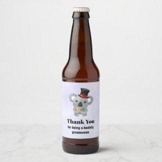 Groomsman dankt u met de Woordspeling van de Koala Bieretiket