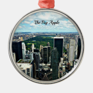 Groot Apple, de Stad van New York Zilverkleurig Rond Ornament