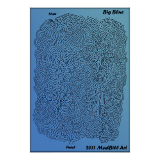 Groot Blauw Labyrint Poster