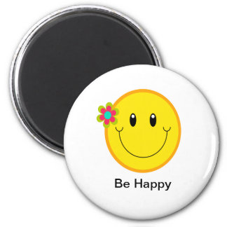 Groot Geel Gezicht Smiley Ronde Magneet 5,7 Cm