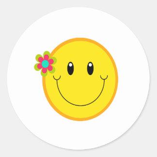 Groot Geel Gezicht Smiley Ronde Sticker