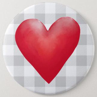 Groot Rood Geschilderd Hart | de Plaid Valentijn Ronde Button 6,0 Cm