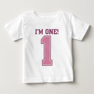 Groot Roze Nummer Één, de Eerste Verjaardag van Baby T Shirts