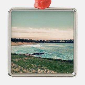 Groot Western Strand Newquay Zilverkleurig Vierkant Ornament