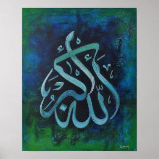 GROTE 16X20 Allah-u-AKBAR - het Islamitische Poster