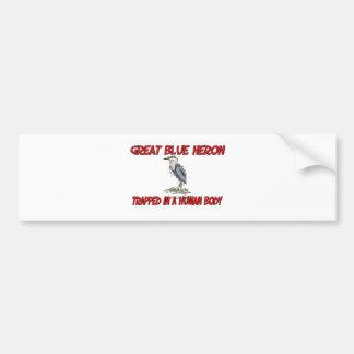 Grote Blauwe die Reiger in een menselijk lichaam Bumpersticker