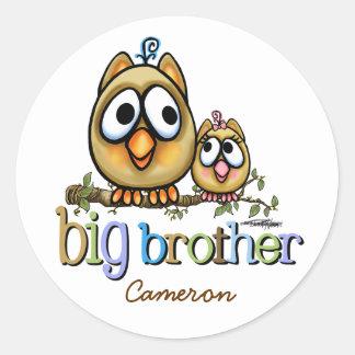 Grote Broer - Sis van het Baby Uilen Ronde Sticker