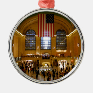 Grote Centrale Post New York Zilverkleurig Rond Ornament