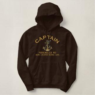GROTE Kapitein Personalize het Anker Emboidered Geborduurde Sweater Hoodie