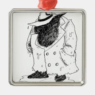 Grote kerel in trenchcoat zilverkleurig vierkant ornament
