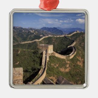 Grote Muur die door de berg winden, Zilverkleurig Vierkant Ornament