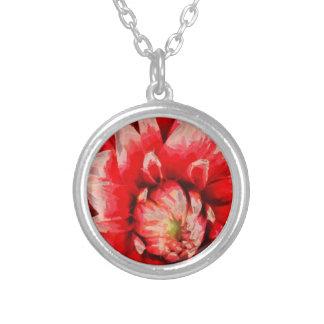 Grote rode bloem zilver vergulden ketting