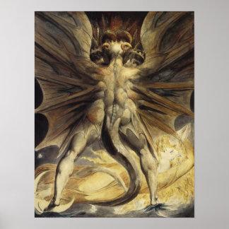 Grote Rode Draak door William Blake Poster