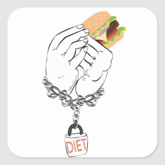 Grote Smakelijke Hamburger en Handen Vierkante Sticker
