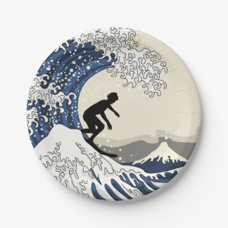 Grote Surfer van Kanagawa Papieren Bordjes