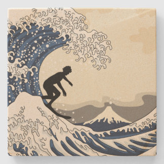 Grote Surfer van Kanagawa Stenen Onderzetter