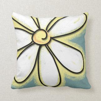 Grote Witte & Gele Daisy Flower Sierkussen