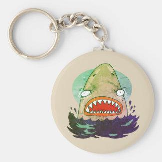grote witte haai grappige cartoon sleutelhanger