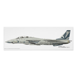 Grumman F-14 A, gedetailleerde Druk vf-111 Poster