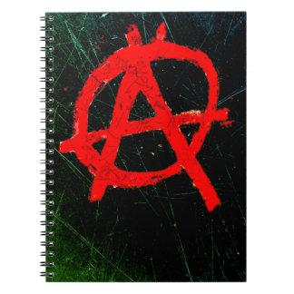Grungy Rode Symbool van de Anarchie Notitieboek