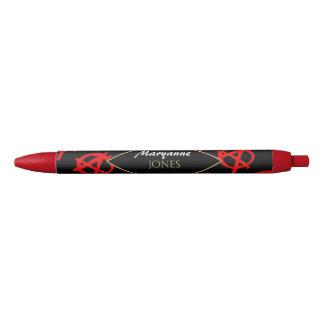 Grungy Rode Symbool van de Anarchie Zwarte Inkt Pen